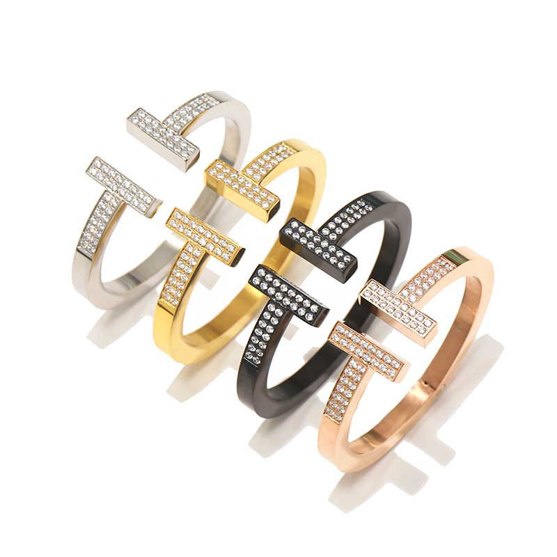 Opening Size Women and Men Bangle High Quality Titanium Steel Four Metal Color Choice Brand Bracelet&Bangle Lover Jewelry