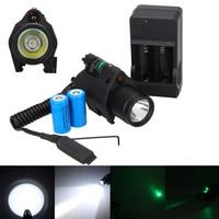 Hunting Tactical CREE LED Flashlight Green Laser Sight Dot Combo For Pistols Gun