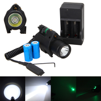 Hunting Tactical CREE LED Flashlight Green Laser Sight Dot Combo For Pistols Gun