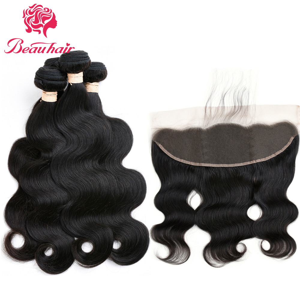 Brazilian Body Wave 4 Bundles with Lace Frontal 13x4 Ear to Ear Closure Free Part Unprocessed Human Hair Natural Color