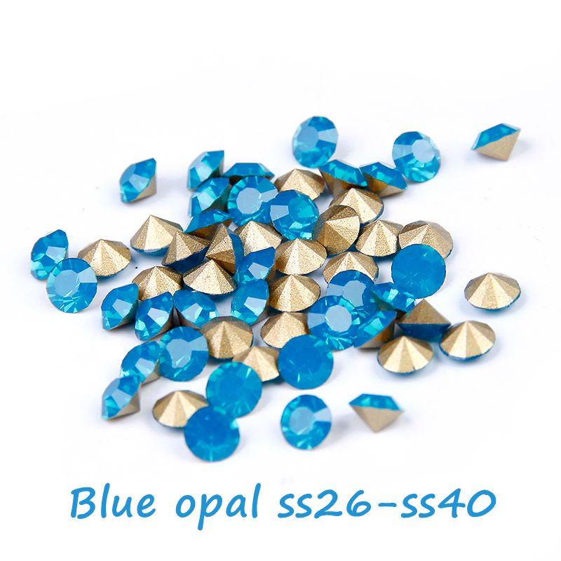 Retail Pointback Crystal Rhinestone ss26 ss40 Blue Opal Color 288pcs Round  Strass Rhinestones Glass Beads DIY Cell Phone Decor-in Rhinestones    Decorations ... c8aa1193ecbc