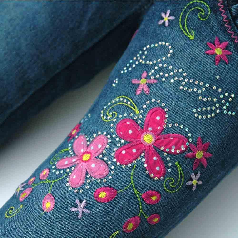 2-6Y Kids Slim Jeans Teens Blumen Sticken Strass Weibliches Kind - Kinderkleidung - Foto 2