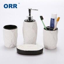 Creative Bathroom set four Ceramic sanitary supplies ware Cups toothbrush holder soap dispenser copo Articulos sanitarios ORR