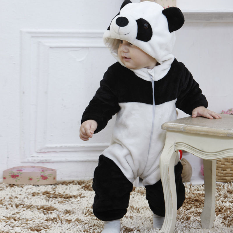 HOT Sale Baby   Rompers   Cute Infant Boy Girl Long Sleeve Jumpsuit Kids Warm Winter Panda Animal Hooded   Romper   Baby Outfits Clothes