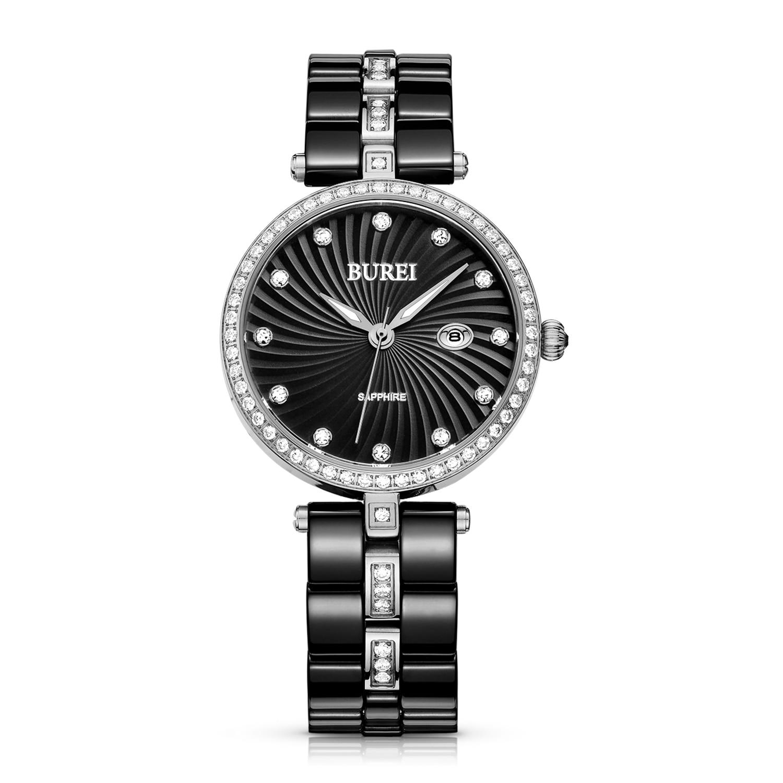 BUREI 3030 Switzerland watch Women's 3030-Z25ER Black Bracelet Ceramic Quartz Watches with Rose Gold Diamond Bezel