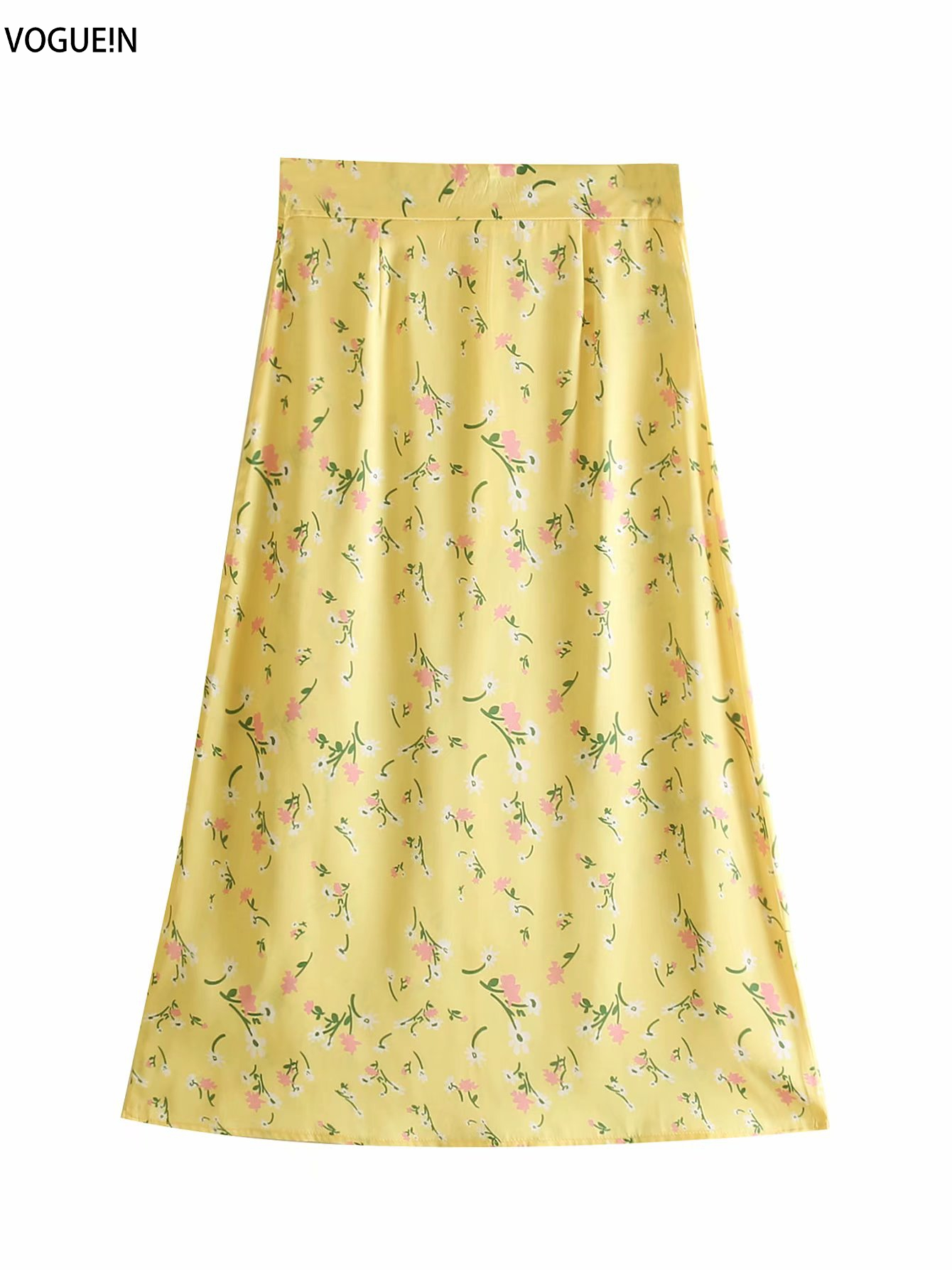 VOGUEIN New Womens Summer Casual Floral Print Yellow High Waist Zipper Midi Skirt Wholesale