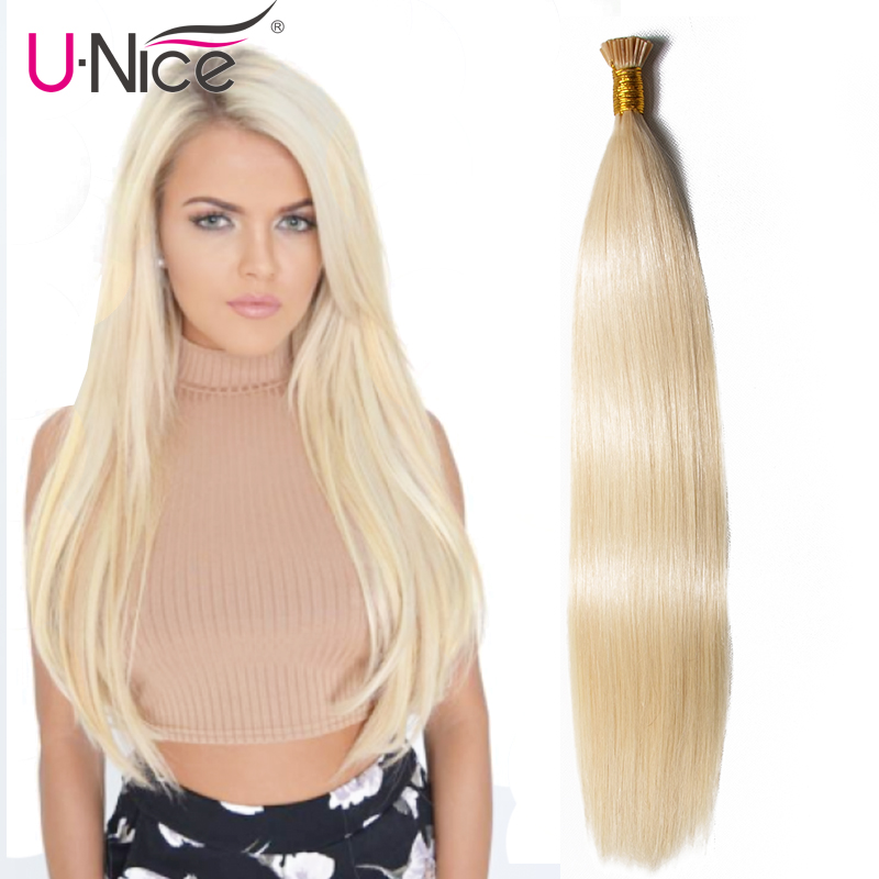 """Ordentlich Unice Haar Brasilianische Reine Gerade Haar 0,5 Gr/sek Spitze Ich Haar Extensions 18 """"-24"""" 7a Spitze Ich Menschliches Haar Extensions 100 S/lot Keratin"""