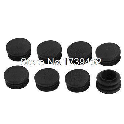 8 Pcs Black Plastic 30mm Dia Round Tubing Pipe Insert Caps Covers