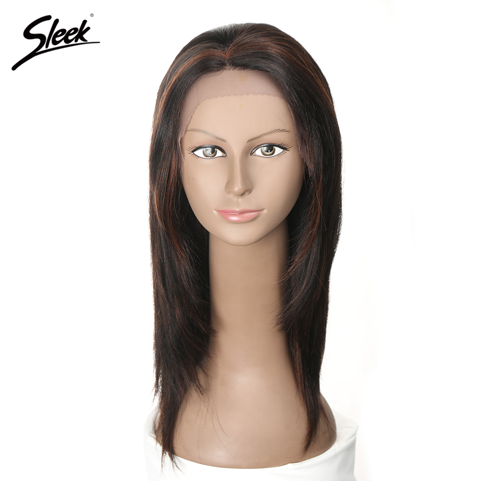 Sleek 5 Colors Lace Front Human Hair Wigs For Black Women Brazilian Straight Remy Hair Lace Wig 14 Inch Free Shipping JUSTINE
