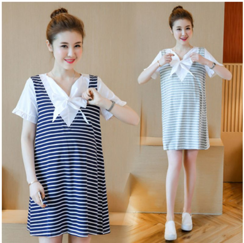 2018 fashion stripes hit color puff sleeves pregnant women summer short-sleeved long maternity clothes