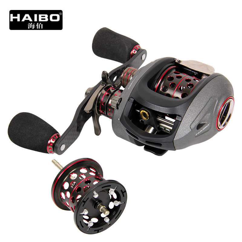 Haibo Brand Smart 13BB Bait Casting Fishing Reel 6.5:1 Full Metal Baitcasting Reel Double Drag Sea Reel with Spare Spool