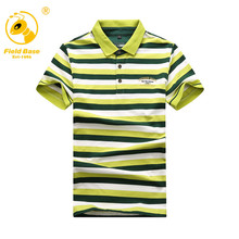 Field Base Men's Polo Shirt short-sleeved polo shirt striped men cotton Polo casual short-sleeved Diamond lattice Printing