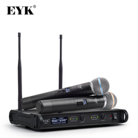 EYK E300 UHF Dual Channel 2 Metal Handheld Mic Transmitter with MUTE Function Professional Karaoke Wireless Microphone System