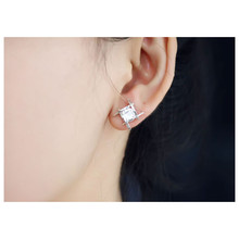 Elegant and Charming Black Rhinestone Full Crystals Square Stud Earring