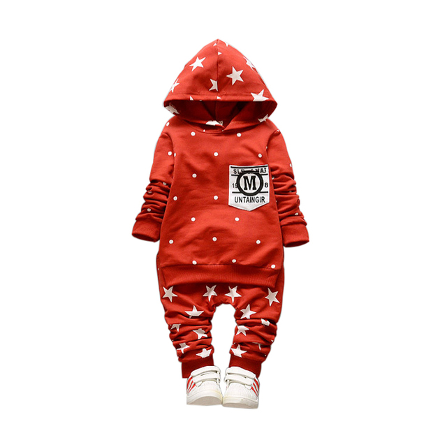 2PCS New Boys Sets Star Cotton Infant Suits Long Sleeve Boys Clothes Pants Hooded Top Suits Spring Autumn Children Clothing