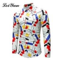 2018 Spring Brand Casual Shirt Men Slim Fit Male Colorful Geometric Print Dress Shirt Winter Long