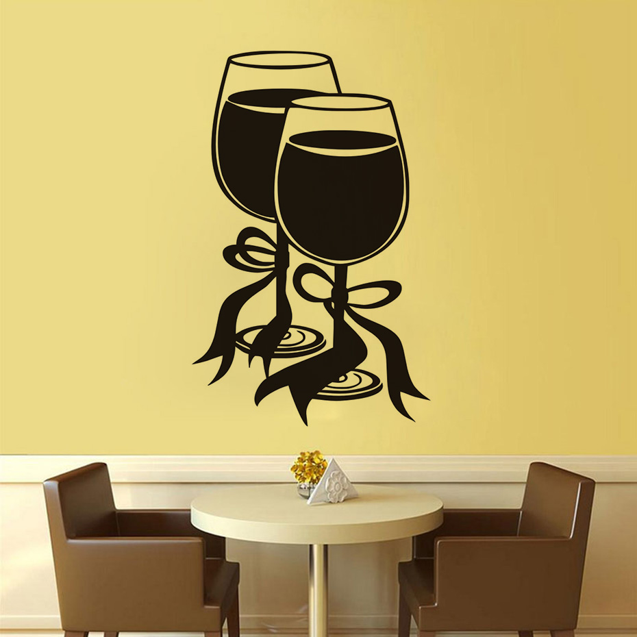Modern Style Two Glasses Of Wine With Bow Ribbon Wall Sticker ...