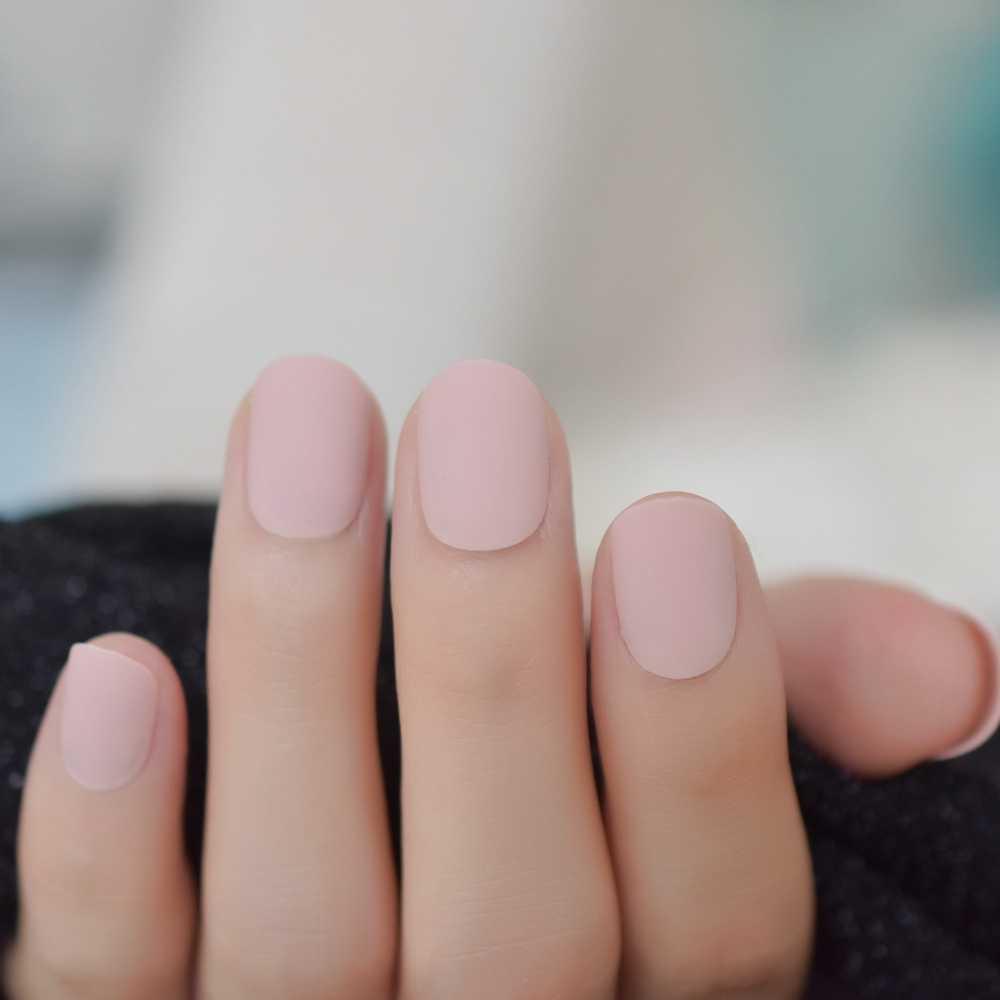 Pembe çıplak yanlış Nails mat yuvarlak japon parmak çivi kısa akrilik tırnak toptan yapıştırıcı ile 24Ct