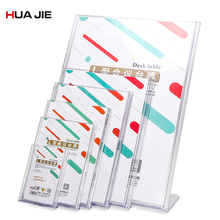 Card Holders Meeting Desk Label Card Frame Transparent L-shape Desk Sign Price Tag Label Display Stand Office Supplies DE5031L 60 90mm price tag name card display acrylic magnetic picture photo frame declining desk sign frame ad block label display stand