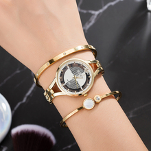4Pcs Women Bracelet Wristwatches Top Quality 2pcs Stainless Steel Bangle Fashion Brand Watches With Gig Box for Gift Grilfriends