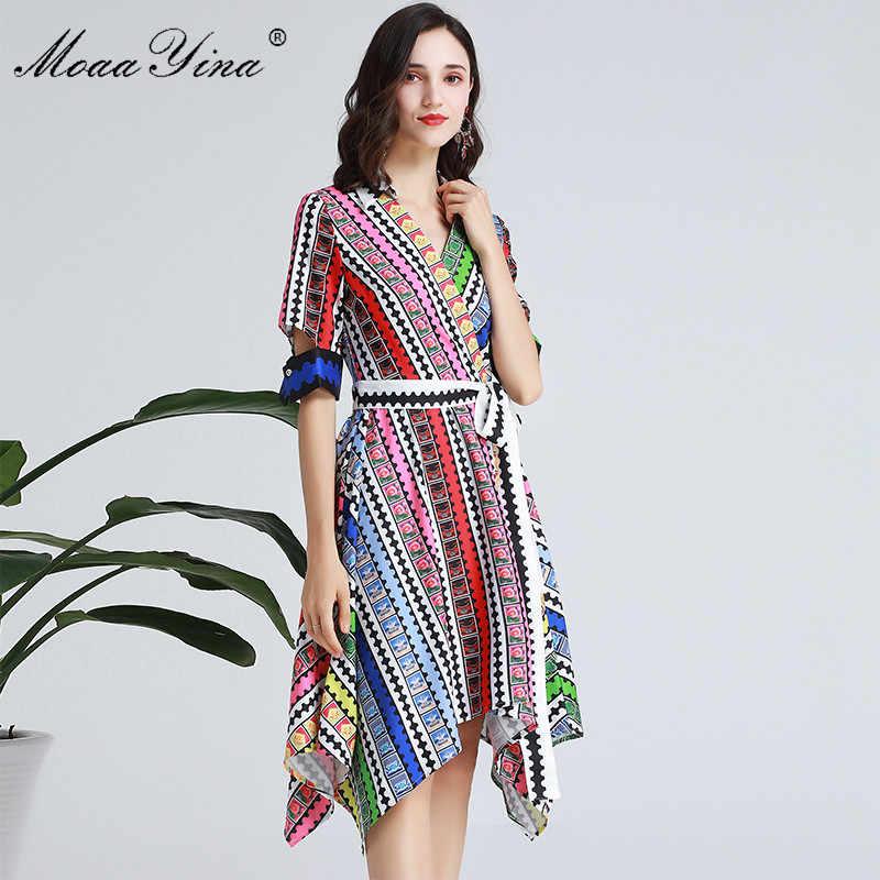 MoaaYina, модное дизайнерское подиумное платье, весна-лето, женское платье с v-образным вырезом, коротким рукавом, в полоску, в клетку, на шнуровке, асимметричные платья
