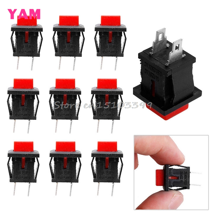 10Pcs 125VAC 1A Red Square SPST NonLocking Reset/Self-locking Push Button Switch #G205M# Best Quality 50pcs lot 6x6x7mm 4pin g92 tactile tact push button micro switch direct self reset dip top copper free shipping russia