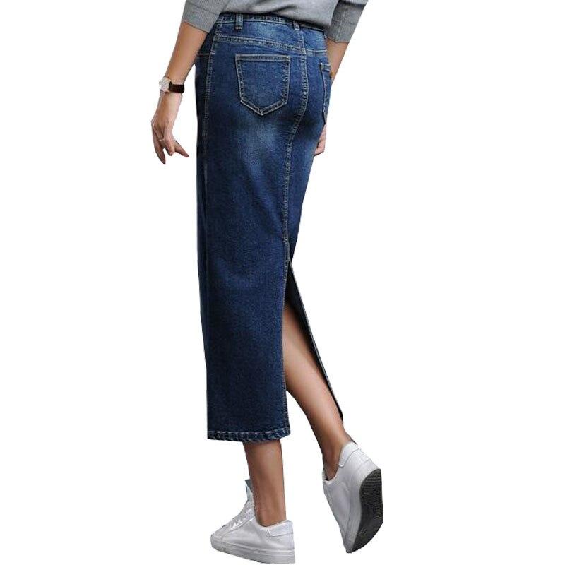 Falda azul De Niza Vaquera Tramo Mujeres Otoño Las Cintura Negro Vaqueros Dividir Coreano Pantalones Cadera Larga La invierno Alta Abrigo Volver Estilo Mezclilla Largo qSxFw5g