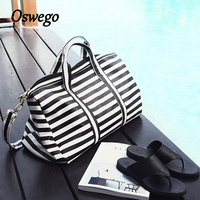 Oswego Travel Duffel Bags PU Leather Zipper Luggage Girl Tote Bags Fashion Striped Portable Travel Duffel