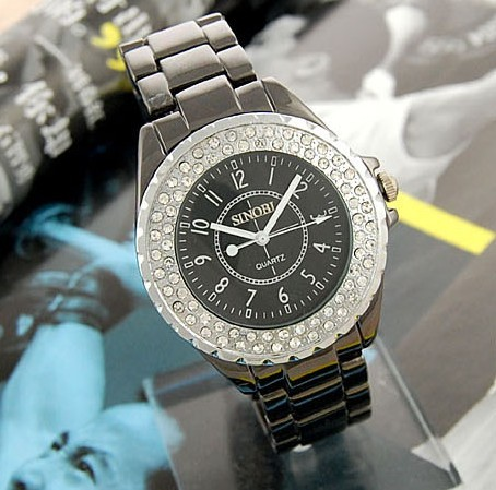 wholesale Luxury Quartz Crystal Women/ Lady Watch Fashion-Black freeship
