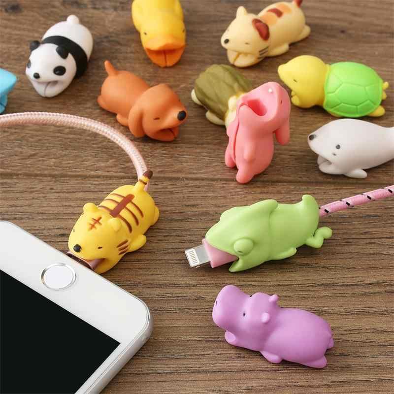 1 Uds. Animales lindos cargador Usb Protector de mordida de cables para Iphone android Cable USB cargador Protector