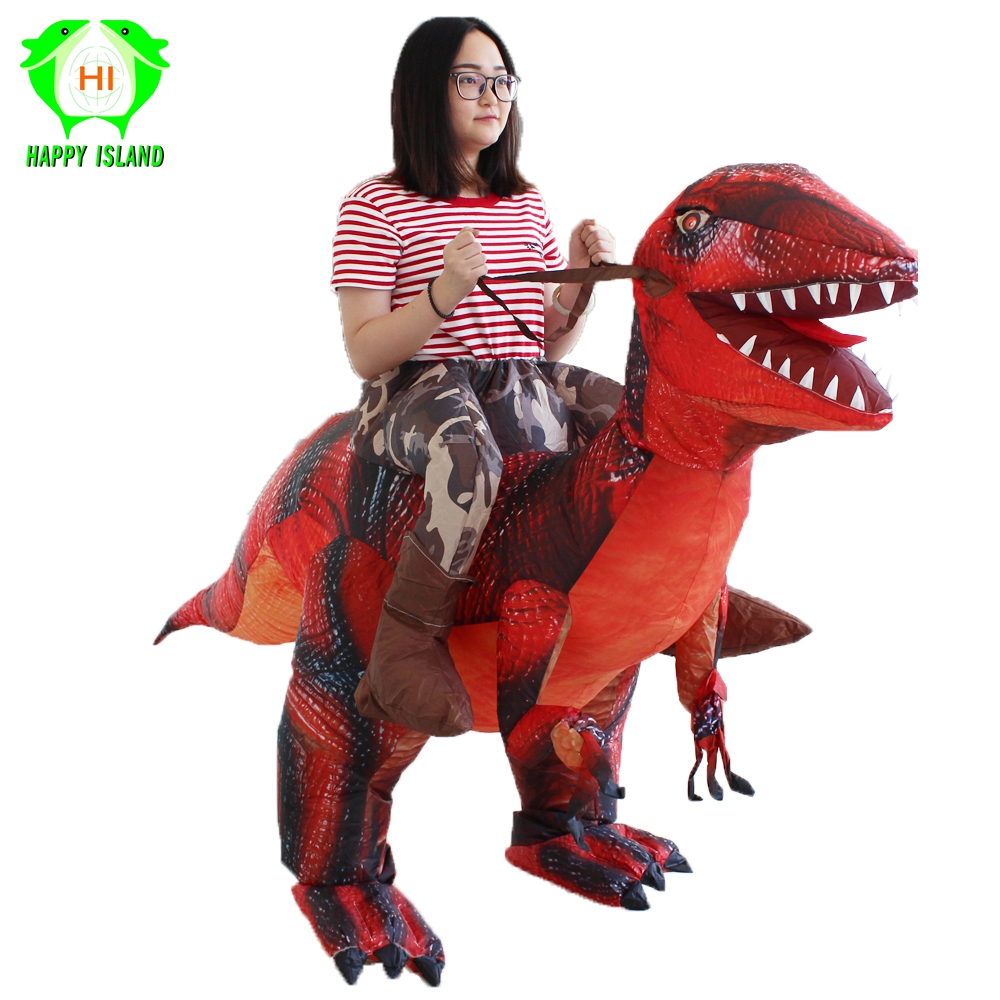 New Style Adult Ride on Dinosaur T REX Inflatable Costumes Men Halloween Inflatable Costume Christmas Party Cosplay Costume