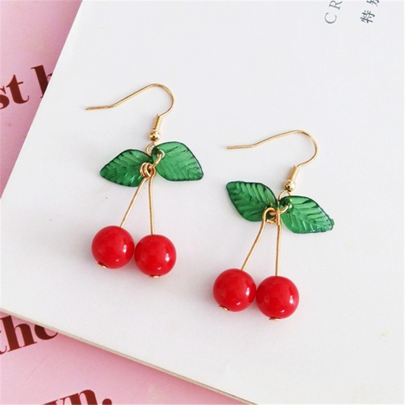 Hot Red Cherry Earrings Eardrop Sweet Fruit Fresh Cherry Eardrop Female Fashion Youth Beautiful Girl Students Earrings For Women