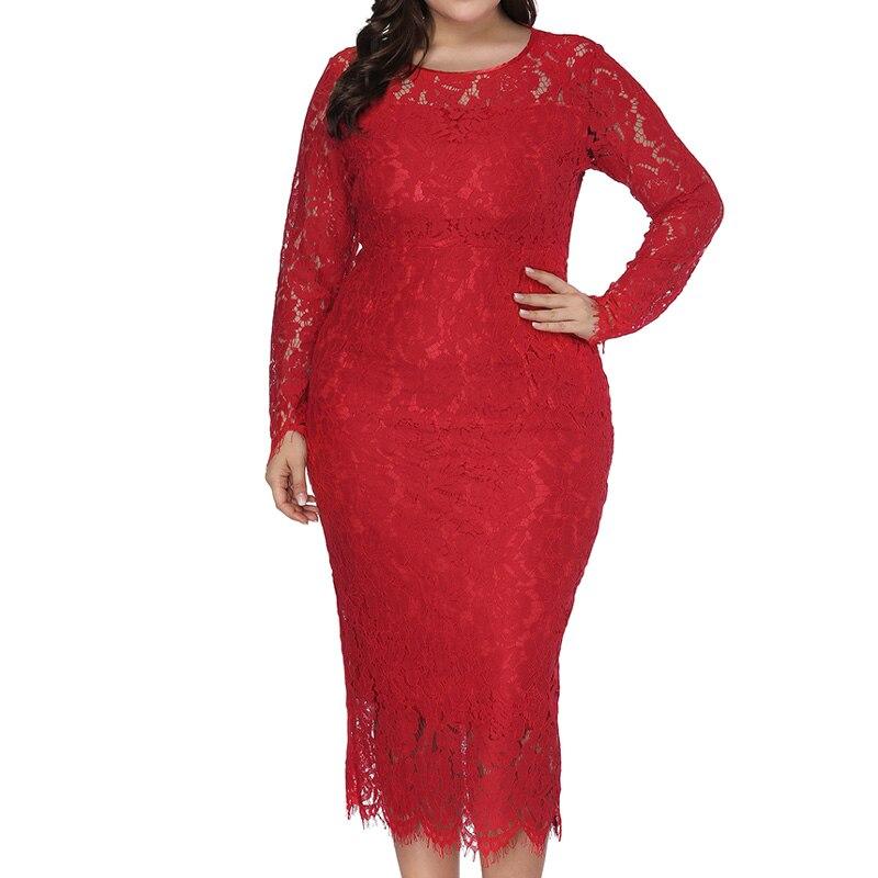 Woman Dresses 2019 Long Sleeve Autumn Wedding Party Wear Big Size Casual Dress Red Bodycon Pencil Lace Dress Plus Size XL 6XL