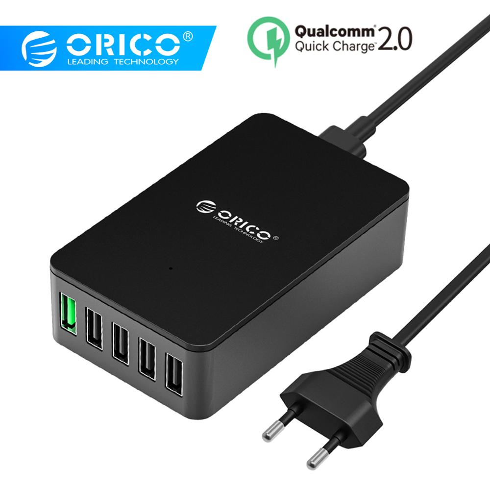 ORICO QC2.0 USB Charger 5 ports Desktop Quick Charger for Samsung Xiaomi Huawei and Tablets with EU Plug