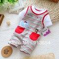 Nuevo 2017 verano estilo ropa del bebé recién nacido niños rayas de manga corta de los mamelucos de los bebés shorts monos