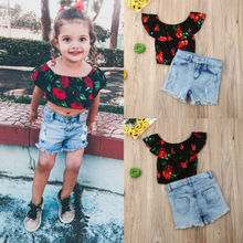Summer 2PCS Toddler Kids Baby Girl Clothes Outfits Rose Flowers T-shirt Tops +Denim Pants Set 2018 newborn toddler kids baby girls 3d rose floral off shoulder t shirt tops denim raw hem hot shorts outfits clothes 2pcs set