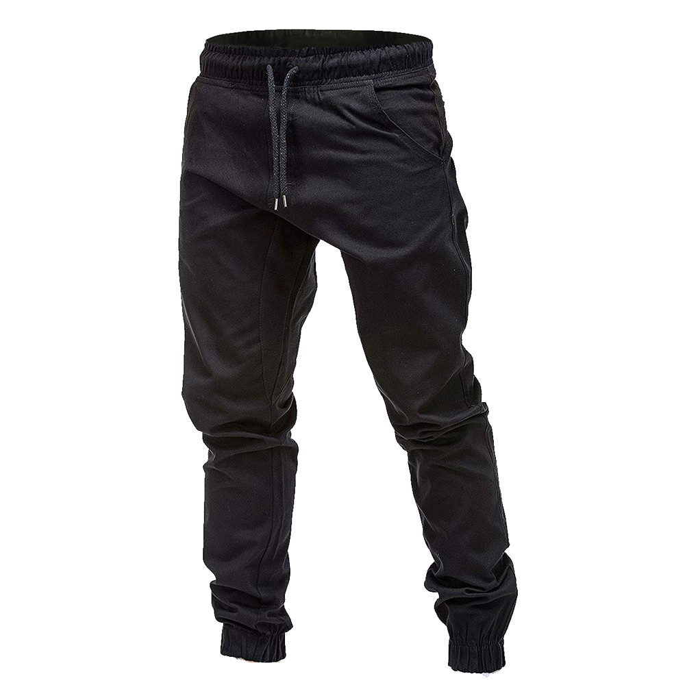 Men Sweatpants Autumn Slacks Polyester Casual Elastic Joggings Sport Solid Baggy Pockets Trousers High Quality W311