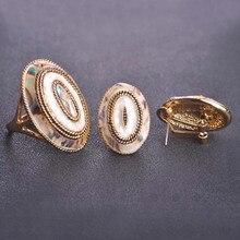 Blucome abalone shell sistemas de la joyería para las mujeres de oro esmalte ronda gran partido del anillo y aretes brinco bijoux joyería de dubai conjuntos
