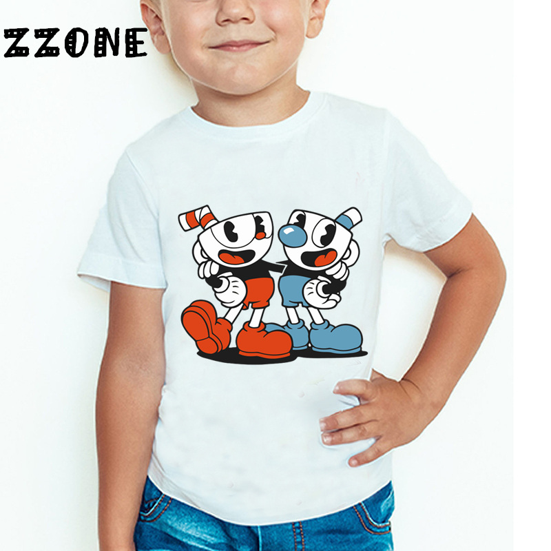 Children Cuphead Cartoon Print Funny T shirt Boys and Girls Comfortable Short Sleeve Tops Kids Casual Clothes,HKP5199 cotton bull and letters print round neck short sleeve t shirt