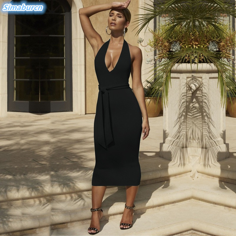 <font><b>2019</b></font> <font><b>Summer</b></font> Women <font><b>Dress</b></font> <font><b>Sexy</b></font> Deep V-Neck <font><b>Dress</b></font> Backless Sheath <font><b>Bodycon</b></font> Package Hip <font><b>Black</b></font> Gray <font><b>Dresses</b></font> Ladies Club Party Vestidos image