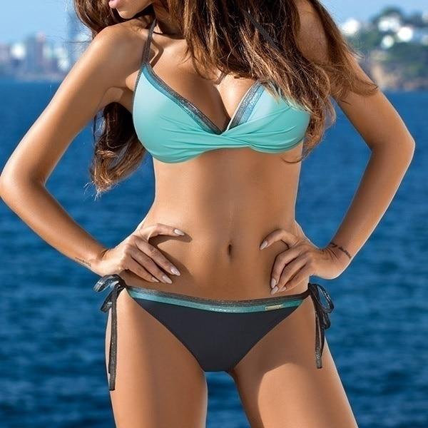 HTB1qCmMaNrvK1RjSszeq6yObFXae Womens Push Up Two Piece Bikini Swimsuits Sexy 2019 Summer Hot Bathing Suit Triangle Side Knot Thong Swimwear Padded Adjustable