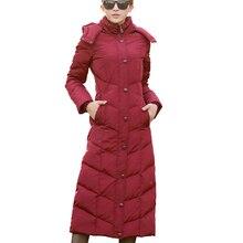 Новое пальто размера плюс, ультра теплая куртка на белом утином пуху, длинное женское пальто, тонкие однотонные куртки, зимние пальто, парки с подкладкой