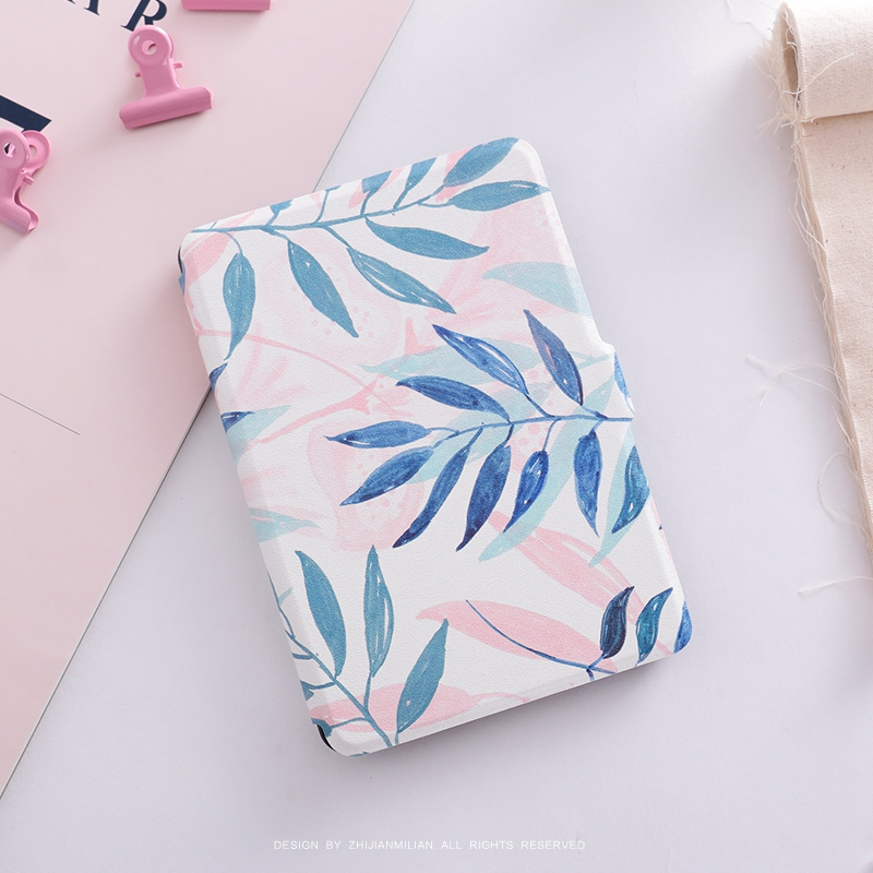 Pink Green Leaf Magnet PU Flip Cover for Amazon Kindle Paperwhite 1 2 3 449 558 Case 6 inch Ebook Tablet Case Leather Case pink marble grain magnet pu flip cover for amazon kindle paperwhite 1 2 3 449 558 case 6 inch ebook tablet case leather case