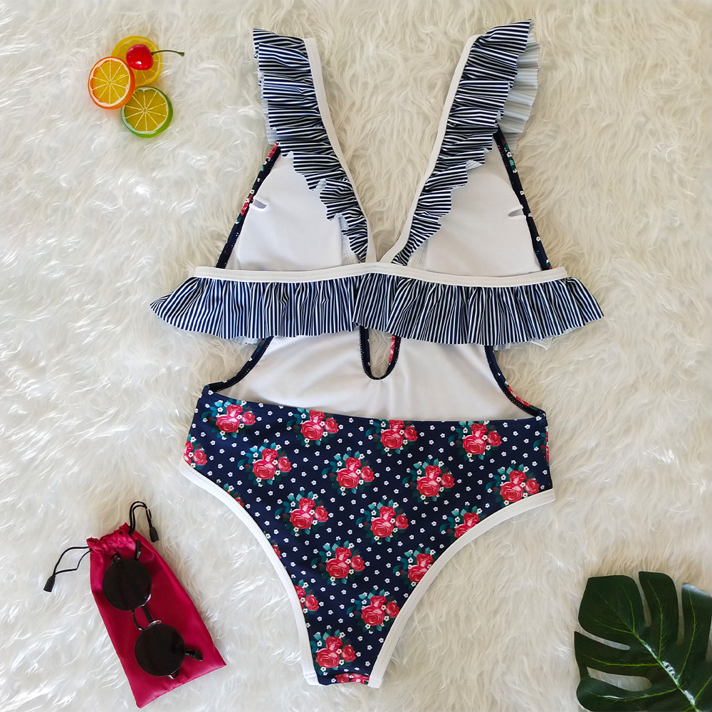 Sexy one piece swimsuit 2019 summer beach ruffled deep V neck open back lace lacing ladies swimwear 3 styles printed bikini in Body Suits from Sports Entertainment