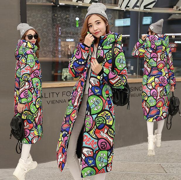 WENDYWU NEW Women Coat Slim Fit High Neckline Lady Hooded Jacket Print Regular Length Thick Warm Winter Outfit Female Coat