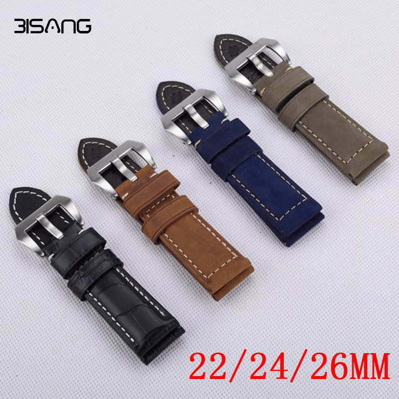 22 24 26mm Dark Brown Red Blue Black Handmade Leather Watchband, retro type watchband, suitable for PAM watches,Free Shipng 20mm 22mm 24mm 26mm khaki genuine leather watchband retro type watchband suitable for pam watches and rough watch free shipng