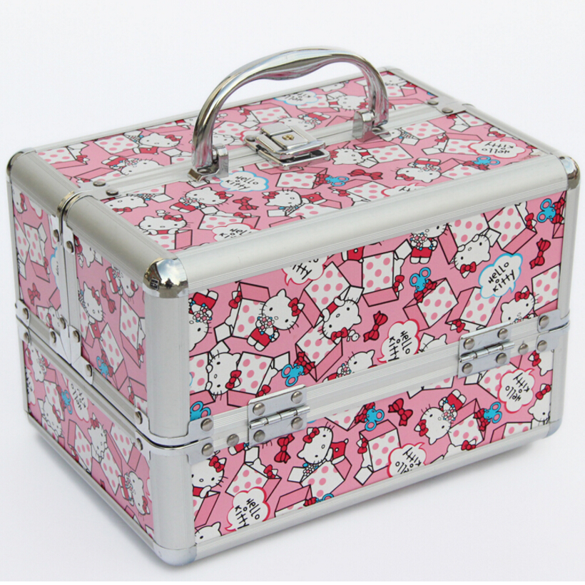 Lovely Cat Pink and Blue Jewelry Box Large Capacity Cosmetic Bag Makeup Case Rangement Maquillage Make