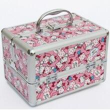 Schöne Katze Rosa und Blau Schmuckschatulle Große Kapazität Kosmetiktasche, Make-Up Fall, Rangement Maquillage, Bilden Aufbewahrungsbox Behälter