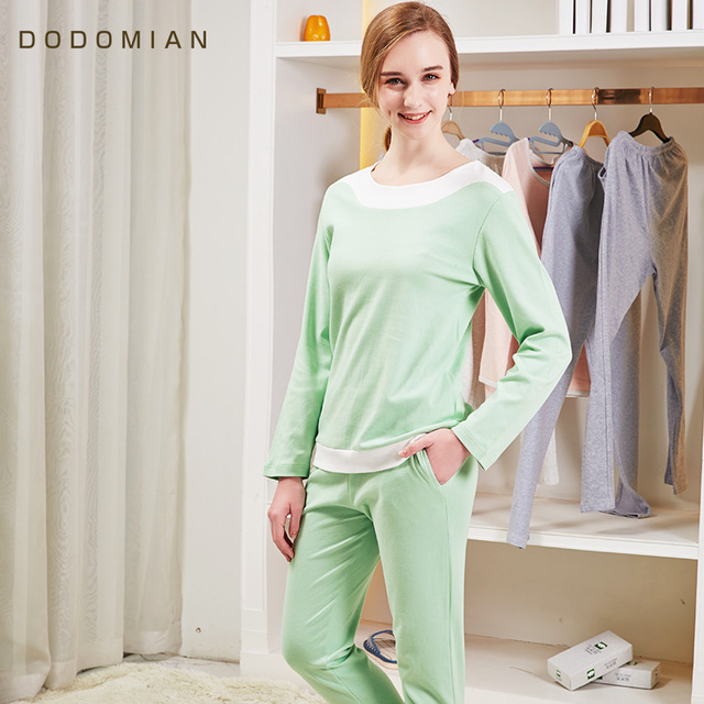 61c7bb26de Brand PJS Casual Pajamas Sets Women Pyjamas Long Sleeve O-Neck Lady Cotton  Sleepwear Night