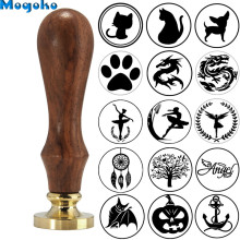 Mogoko 1pc Vintage Brass Head Wooden Handle Dragon Wax Seal Stamp Letter Card Decor Gift Different Pattern Cat/Dog/Halloween Bat